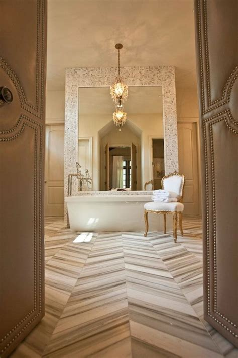 floor and decor tile marble herringbone floor transitional bathroom 12