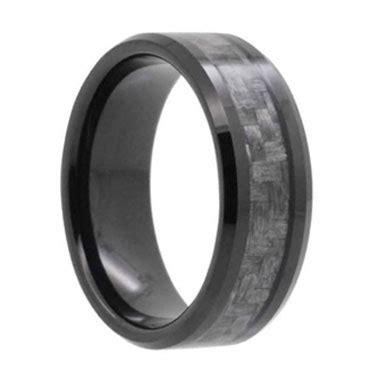 8mm carbon fiber inlay black tungsten wedding band