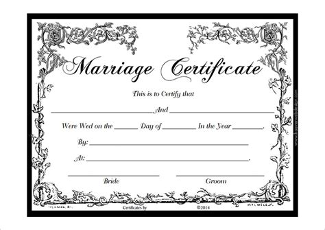 marriage license template marriage certificate template pdf certificate templates