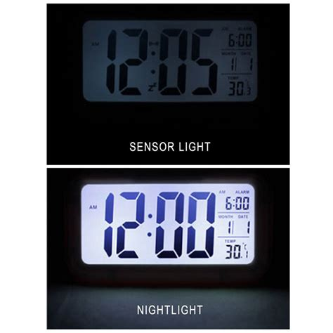 Large Display Lcd Digital Alarm Clock With Automatic Light