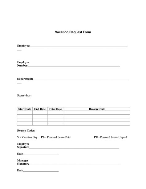 best photos of standard vacation request form employee