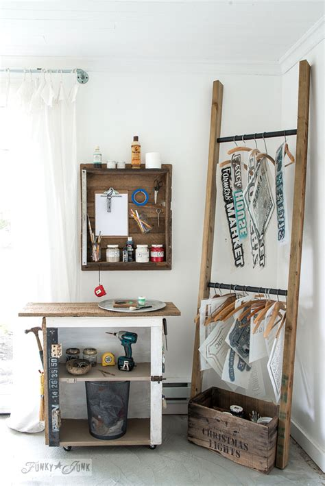 cool compact diy ladder stencil organizerfunky junk interiors