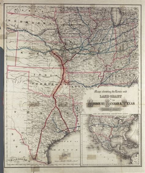 texas land grants map a map of the route and land grant of the missouri kansas and texas railway kansas memory