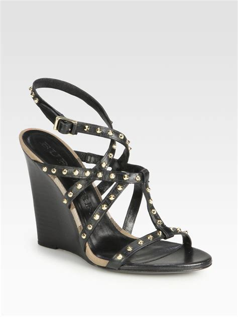 burberry housecheck studded leather wedge sandals in black