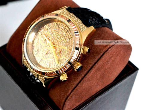Michael Kors Uhren Gold 1333 by Michael Kors Mk2310 Damenuhr Gold Chronograph Leder Strass