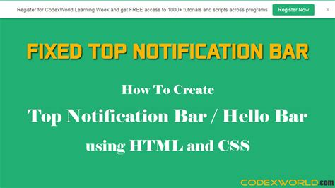 html css top bar create top notification bar with html and css codexworld