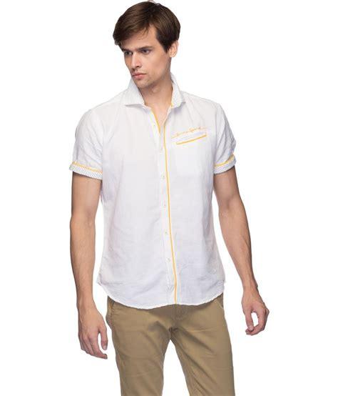linen t shirt pattern zorro white linen blend self pattern casuals shirt buy