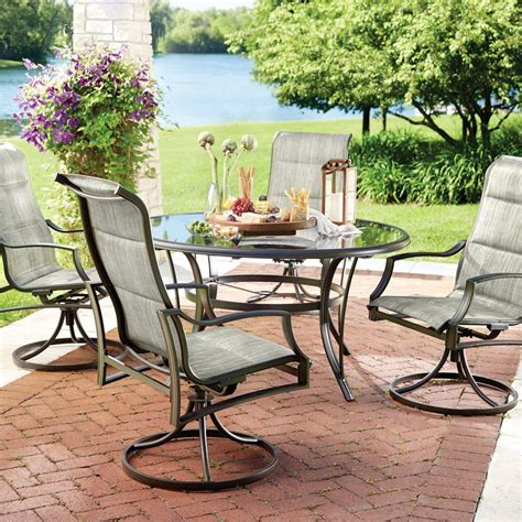 Sling Patio Dining Set Hton Bay Statesville 5 Padded Sling Patio Dining Set With 53 In Glass Top Fcs70357cs