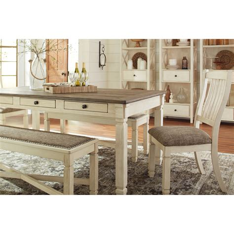 del sol bolanburg relaxed vintage rectangular dining room table drawers del sol furniture dining tables
