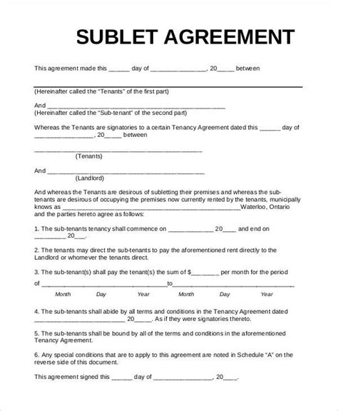 Subtenant Agreement Eliminate Your Fears And Doubts About Sublease Agreement Template Colorado