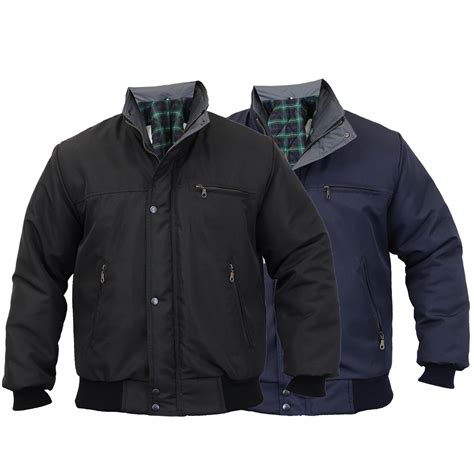 Mens Quilted Work Jackets by Mens Sky Diver Bomber Jacket Padded Coat Work Quilted Checked Tartan Winter New Ebay