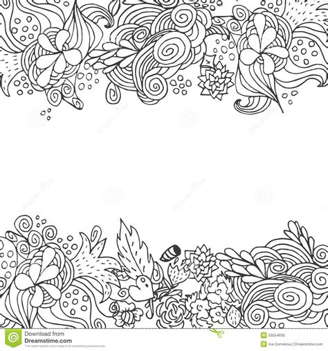 doodle flower border ornament coloring pages for adults coloring pages
