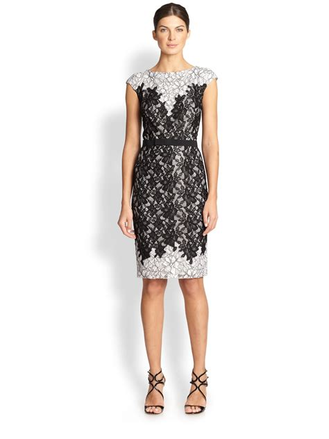 Tadashi shoji Contrast lace Cocktail Dress in Black   Lyst
