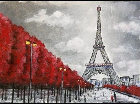 easy eiffel tower acrylic painting impressionist
