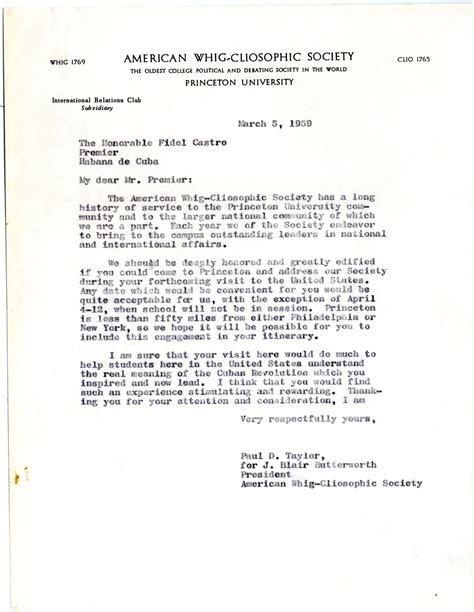 princeton cover letter fidel castro visits princeton mudd manuscript