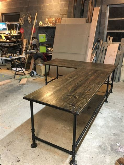 industrial desk l this listing is for an industrial pipe l shaped desk this