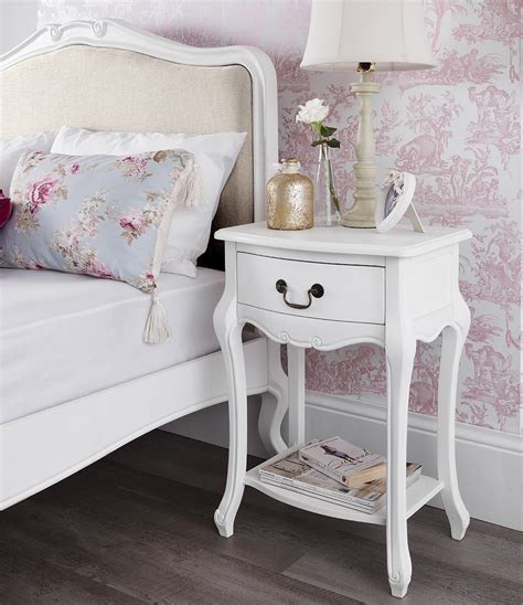 white shabby chic bedside table shabby chic white 1 drawer bedside table bedroom