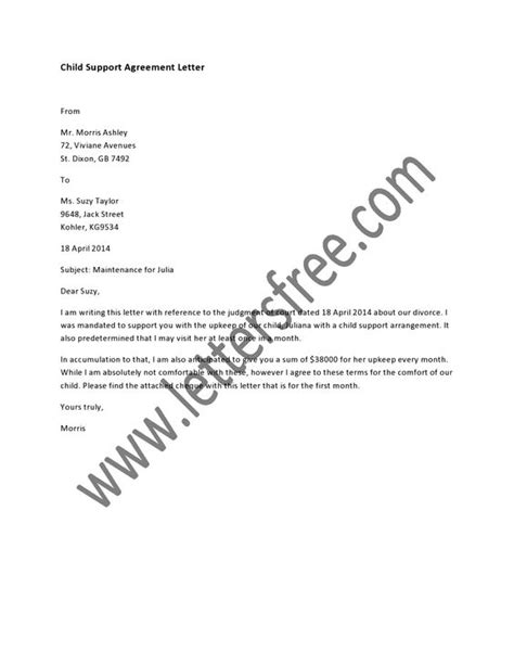 written agreement template a written child support agreement between parents is