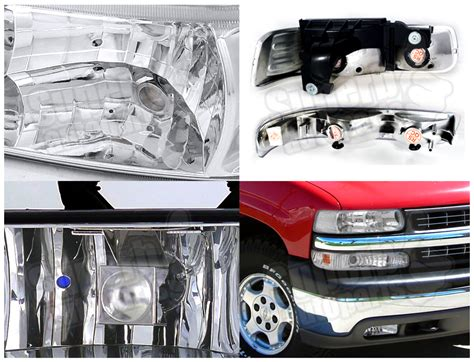 1999 2002 chevy silverado headlights chrome bumper ls clear fog light 6pc kit ebay
