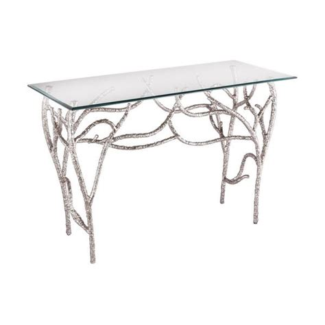 all glass table ls ls dimond home metropolitan console table in silver