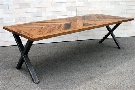 X Leg Dining Table Handmade The Chevron Dining Table Made From Antique Oak With Steel X Legs By Historicwoods By
