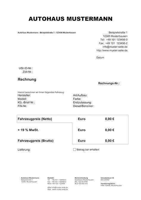 Rechnung Inhalt Kleinunternehmer Autofreund24 De Vorlagen F 252 R Den Autohandel