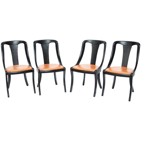 black dining room chairs set of 4 set of four mid century black lacquer scoop dining chairs