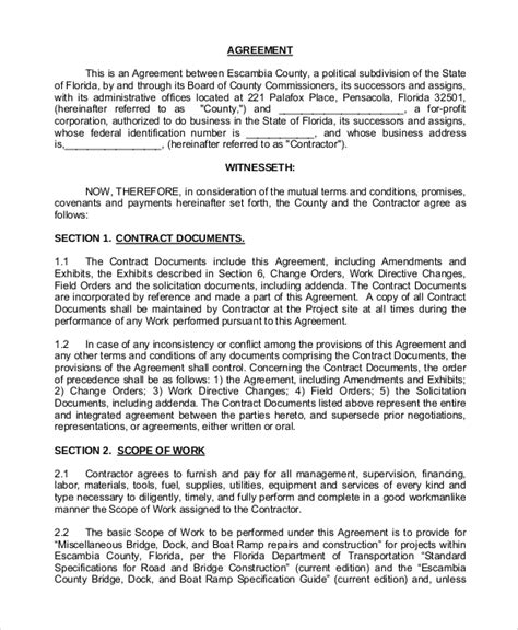 Contract Variation Letter Template Sle Construction Contract 8 Exles In Pdf Word