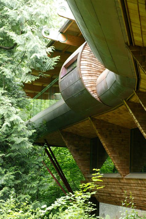 curved abstract house  forest   natural materials