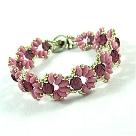 beadwork pink cascara pink beadwork bracelet with crystals and pink