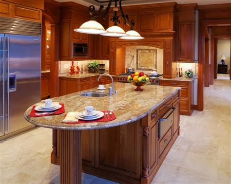Decorative Kitchen Islands Rounded Granite Kitchen Island With Decorative Wood