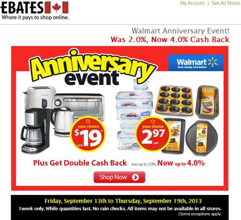 Can You Get Cash Back On A Walmart Gift Card - walmart anniversary event get 4 cash back on ebates ca until sept 19 ottawa