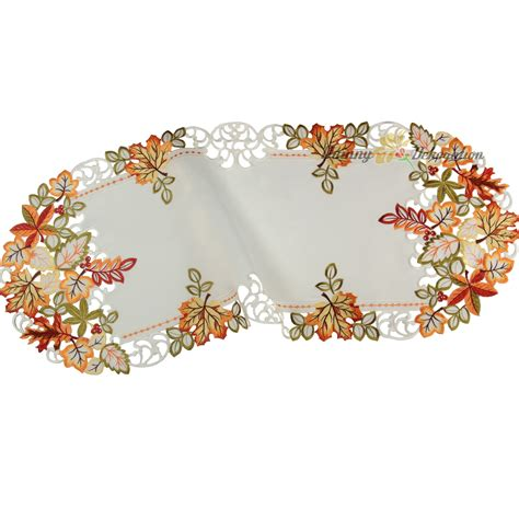 fall table runner 108 autumn fall tablecloth table runner doily white green red