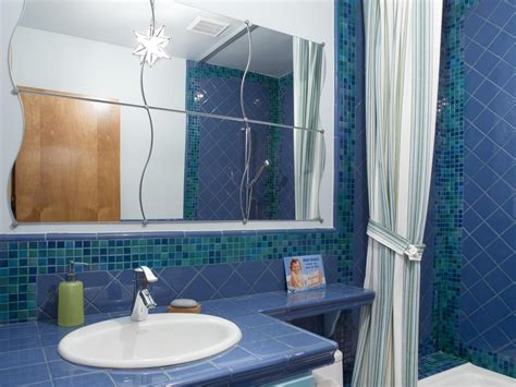 blue tile bathroom ideas ceramic tile bathroom countertops hgtv