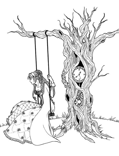 time tree time tree for colouring by riziak on deviantart