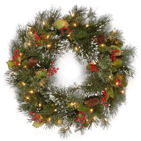 battery led wreath lights national tree company 24 in wintry pine artificial wreath