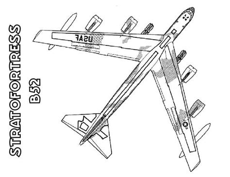B 52 Coloring Pages boeing bomber b 52 stratofortress airplane coloring page
