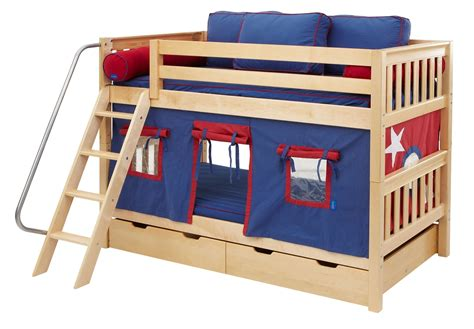 low bunk beds maxtrix low bunk bed w angled ladder twin twin