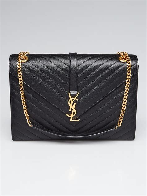 yves saint laurent black chevron quilted metalasse leather