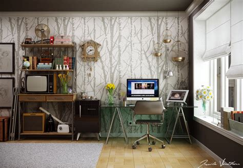 workspace design ideas home office tree wallpaper pattern interior design ideas