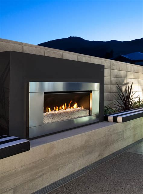 gas wood outdoor fireplace options escea australia