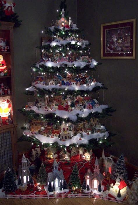 measurements christmas tree village display winter tree december special