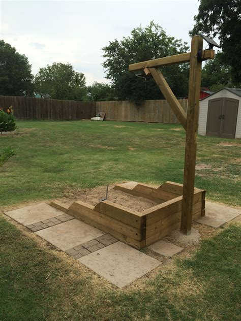 back yard built shoe pits with led lights