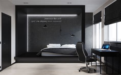 Black And White Master Bedroom Shows The Stretch Of The Black Bedroom Design Ideas
