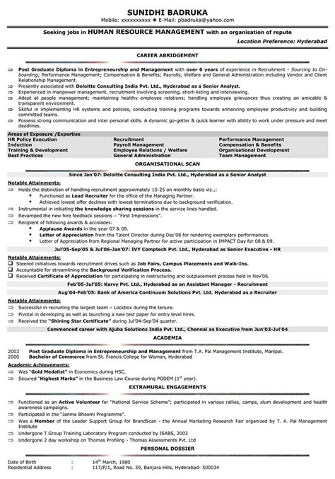 hr resume template exles of resumes exle resume format view sle