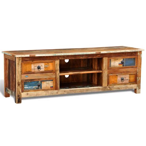 tv cabinet with drawers reclaimed wood tv cabinet tv stand 4 drawers vidaxl co uk