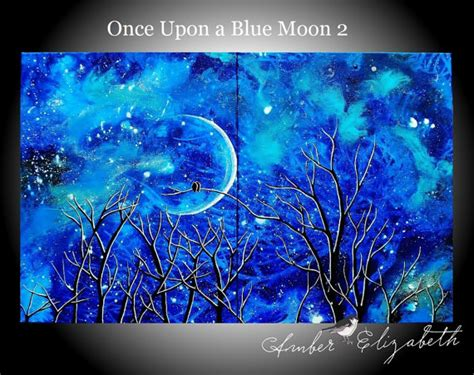 acrylic painting birds in sky large original painting once upon a blue moon 2 surreal