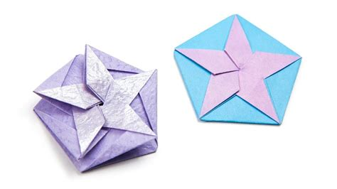 Squash Fold Origami - origami hexagonal origami box alternative lid squash