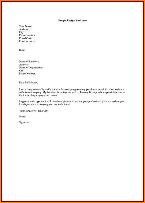 resignation letter template samples letter