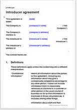 introducers agreement template introducer agreement template commission basis